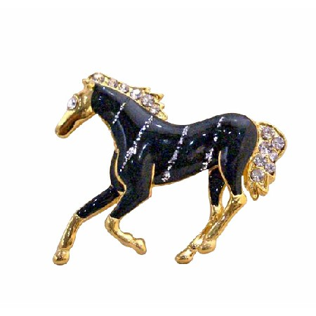 Gold Tone Studded Horse with Black Painted Silver Stripes Brooch