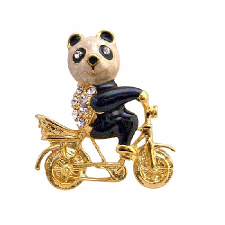 Vintage Gold Plated Panda On Bike Brooch Jewelry