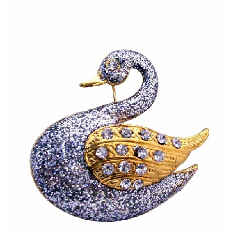 Gold Plated Silver Glitter Animal Duck Brooch with Gold Wings CZ