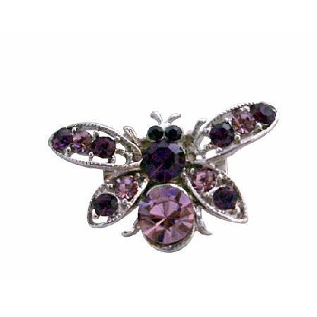 Beautiful Silver Casting Amethyst Bumble Bee Brooch