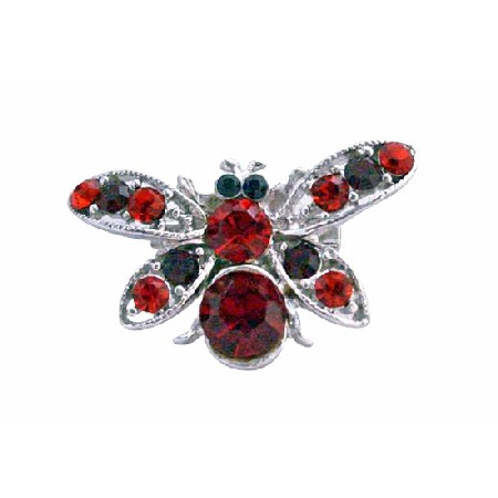 Sleek Garnet Red Rhinestones Elegant Bumble Bee Brooch Pin