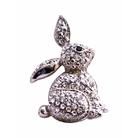 Fully Embedded with Cubic Zircon Sparkling Sweet Rabbit Brooch