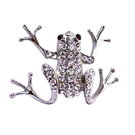 Artistically Encrusted Cubic Zircon Embedded Rhinestones Frog Brooch
