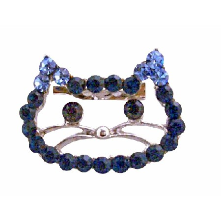 Sapphire Rhinestones Very Cute Kitty Face Brooch Jewelry