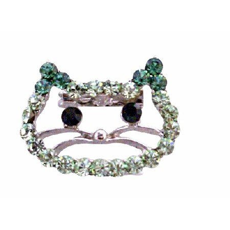 Peridot & Olive Rhinestone Kitty Face Very Cute Brooch