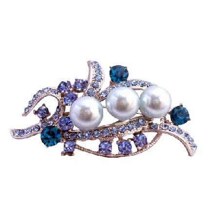 Blue Pearls & Aquamarine Crystals Silver Bridal Dress Brooch