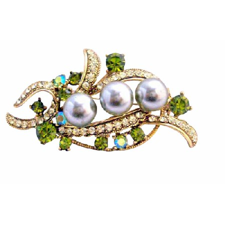 Olivine Pearls & Crystals Wedding Dress Classy Brooch 2 1/4 Inches