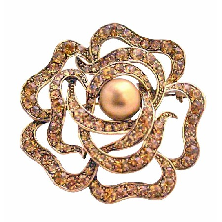 Copper Rose Brooch Multi Round Rose Wedding Sparkling Brooch