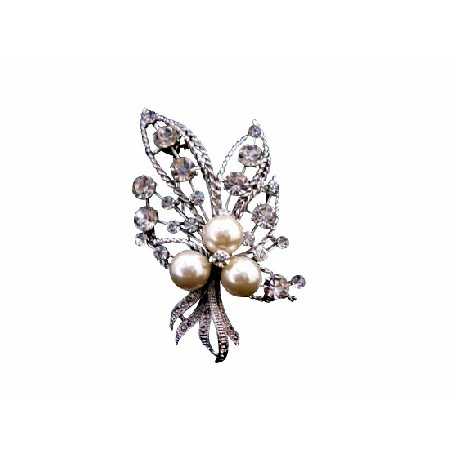 Silver Casting Ivory Pearls Affordable Wedding Bouquet Brooch