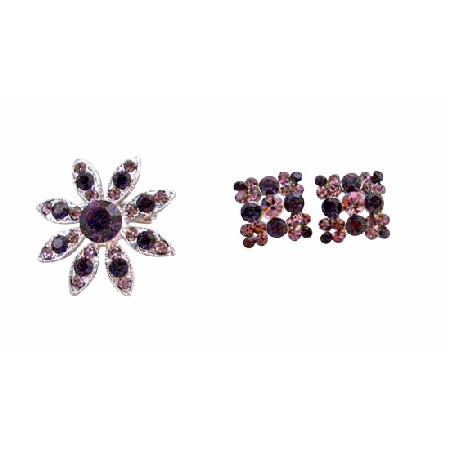 Round Amethyst Flower Pin Brooch with Light & Dark Amethyst Crystals Earrings