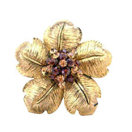 Gold Flower Petals with Smoked Topaz & Topaz Bridal Brooch 2 x 2 Inches