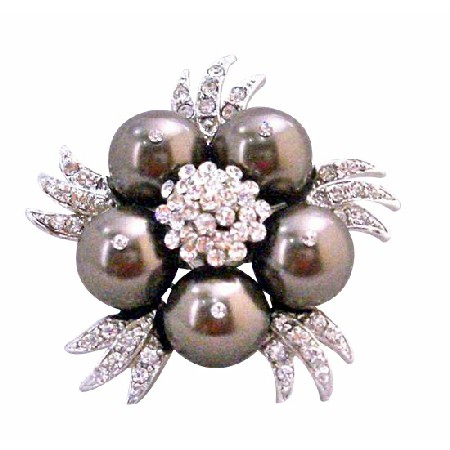 Darkest Brown Swarovski Chocolate Pearls Vintage Brooch Pin