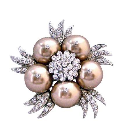 Bronze Swarovski Pearls Sparkling Diamond Cubic Zircon Bridal Brooch