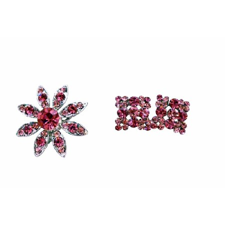 Rose Pink Crystals Round Brooch with Matching Earrings Perfect For Dress