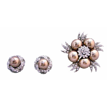 Bronze Swarovski Pearls Stud with Bronze Pearls Diamante Brooch