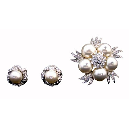Swarovski Ivory Pearls Brooch with Matching Earrings Wedding Jewelry Pin