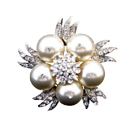 Swarovski Ivory Pearls Pearls Wedding Brooch with Sparkling Simulated Diamond
