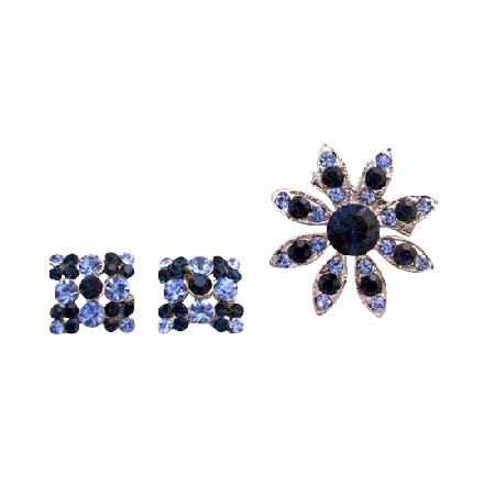 Fashionable Montana Crystals Round Brooch & Earrings Jewelry