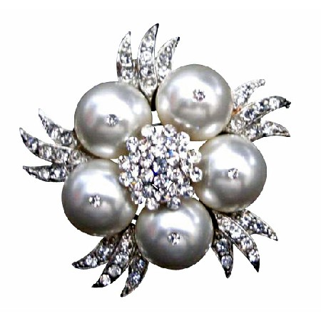 Swarovski White Pearls Wedding Brooch Ideal for the Bride or Bridesmaid