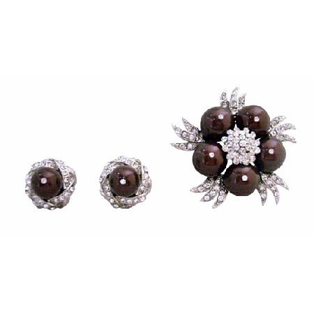Meroon Pearls CZ Swarovski Pearls Brooch with Matching Earrings