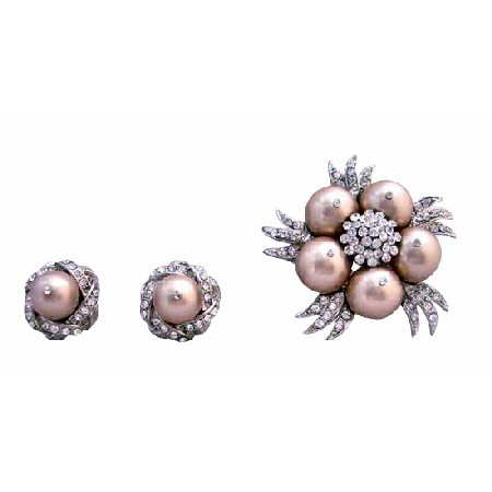 Champagne Pearls Brooch Earrings Wedding Swarovski Jewelry