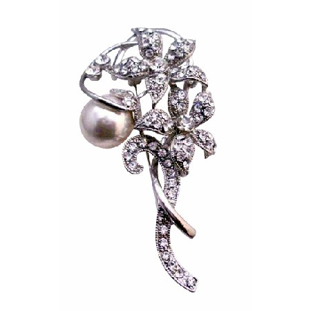 Simulated Diamond sparkling Flowers 10mm White Pearls Vintage Brooch