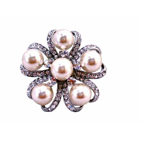 Ivory Pearls Brooch for Wedding Dress or Cake Framed Brooch