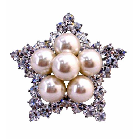 Star Brooch 12mm Ivory Pearls Simulated Diamond Wedding Brooch