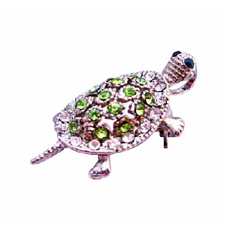 Peridot Crystal Turtle Tag Silver Casting Unique Brooch & Pendant