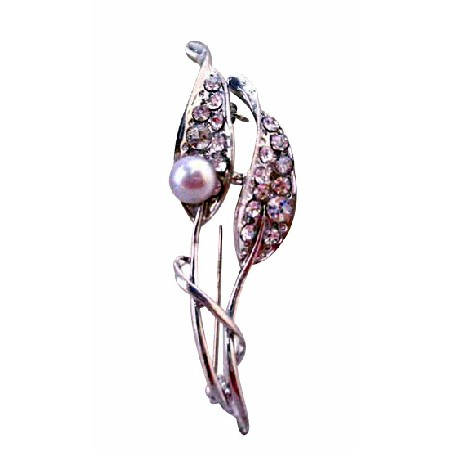 Cheap Wedding Brooch made with Lavender Freshwater Pearls