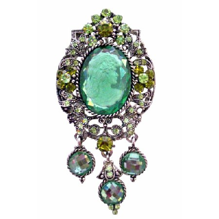 Oxidized Framed Sparkling Peridot Olivine Crystals Lady Cameo Brooch