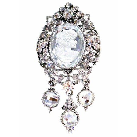 Rich Sparkling all over Silver Lady Cameo Framed Brooch