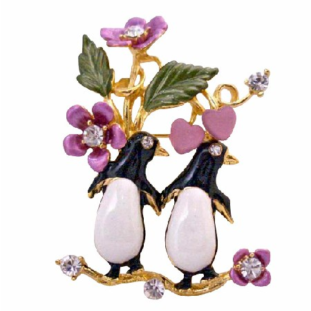 Romantic Brooch Valentine Love Duet Twin Penguin Brooch