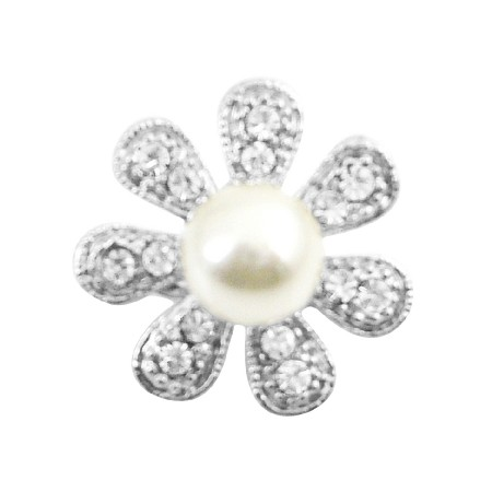 Sparkling Fully Encrusted Cubic Zircon 7 Petals Flower Brooch Pin