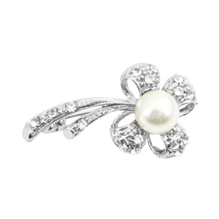 Flower Pearl Brooch Stem Fully Encrusted with Cubic Zircon Brooch