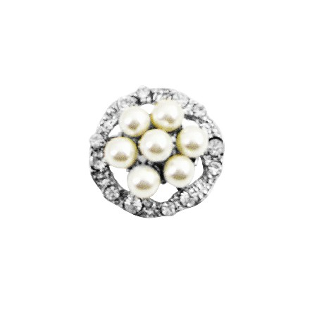 Round Pearl Vintage Brooch Surrounded Simulated Diamond Silver Plated