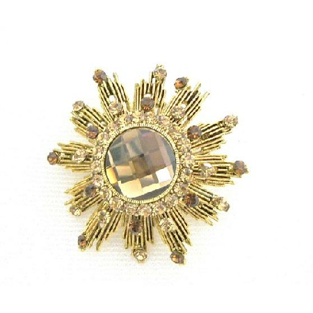 Smoked Topaz Lite Colorado Brooch Sparkling Antique Gold Brooch