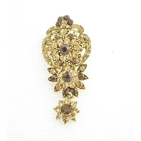Vintage Artistic Golden Formal Wedding Dangling Brooch