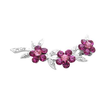 Fuchsia & Rose Crystals Flower Silver Tone Dress Brooch