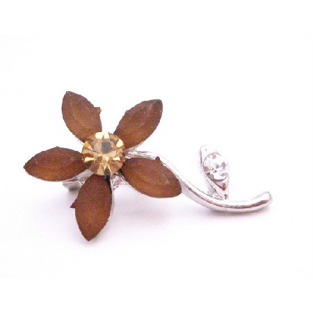 Smoked Topaz Flower with Silver Stem Brooch Pin Vintage Jewel