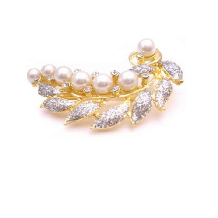 Vintage Brooch Gold Leaf Decorated with Pearls & Cubic Zircon Diamante