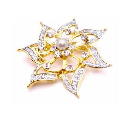 Bridesmaid Dress Gold Flower Diamante & Pearls Confetti Brooch
