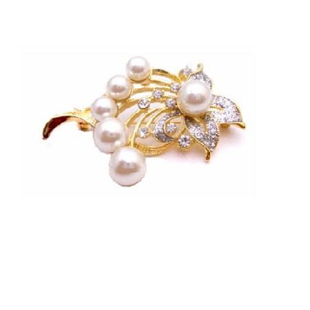 Elegant & Dainty Gold Framed Gift Bouquet Pearls Brooch