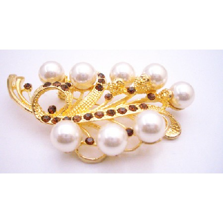 Wedding Brooch In Gold with Ivory Pearls & Smoked Topaz Crystals