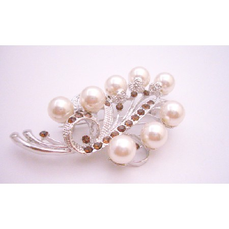Silver Casting Wedding Brooch Silver Ivory Pearl Smoked Topaz Crystals