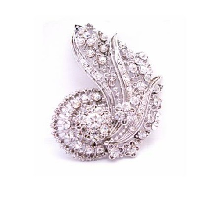 Artistically Made Vintage Brooch & Can Be Pendant Fully Embedded with CZ
