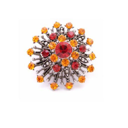 SUNSET Vintage Brooch Orange Lite Siam Crystals Oxidised Metal Brooch