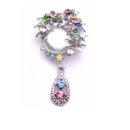 Vintage Dangling Beautifully Framed Multi Crystals Pendant & Brooch