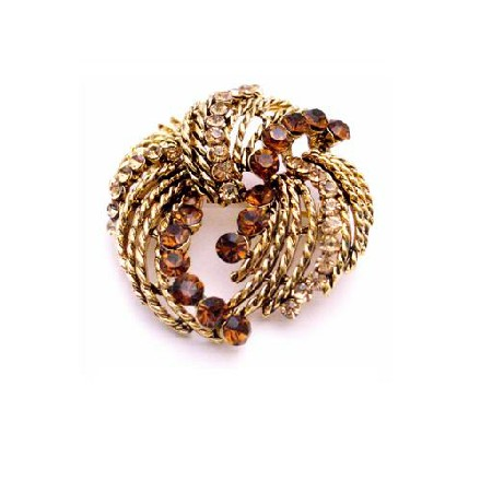 Prom Brooch Mutli Stripes Smoked Topaz Colorado Crystals Ethnic Brooch