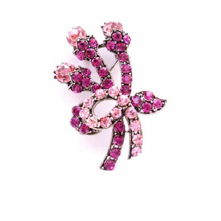A Flare for your Flair Fuchsia & Rose Crystals Swirling Brooch/Pendant